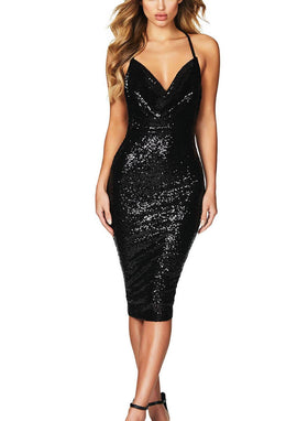 Sequin Halter Midi Bodycon Dress