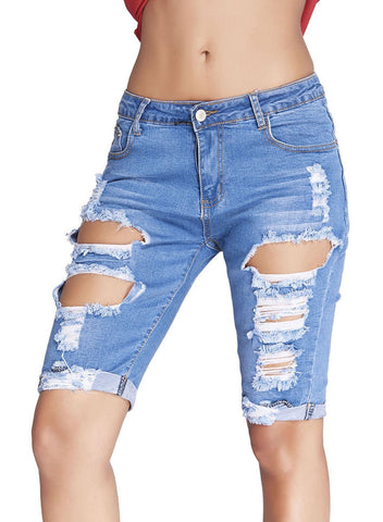 Denim Destroyed Bermuda Shorts