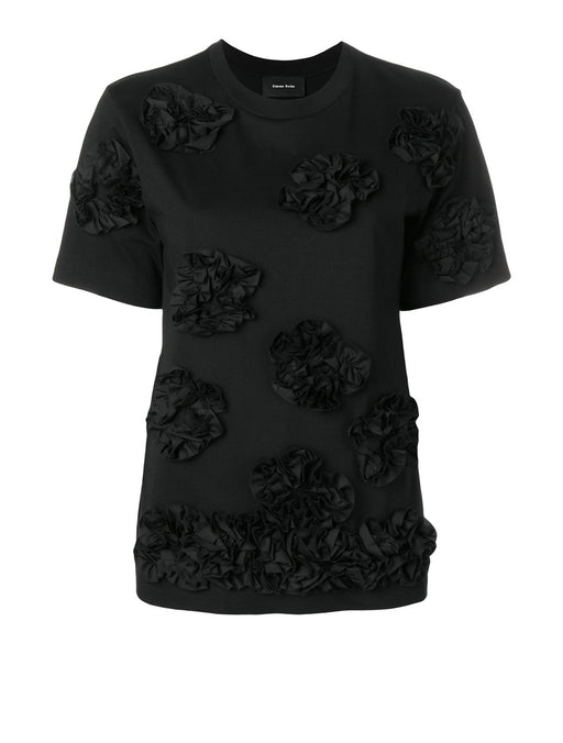 T-Shirt with Appliqued Ruffled Flowers