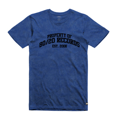 80/20 Records Tumble Tee Blue