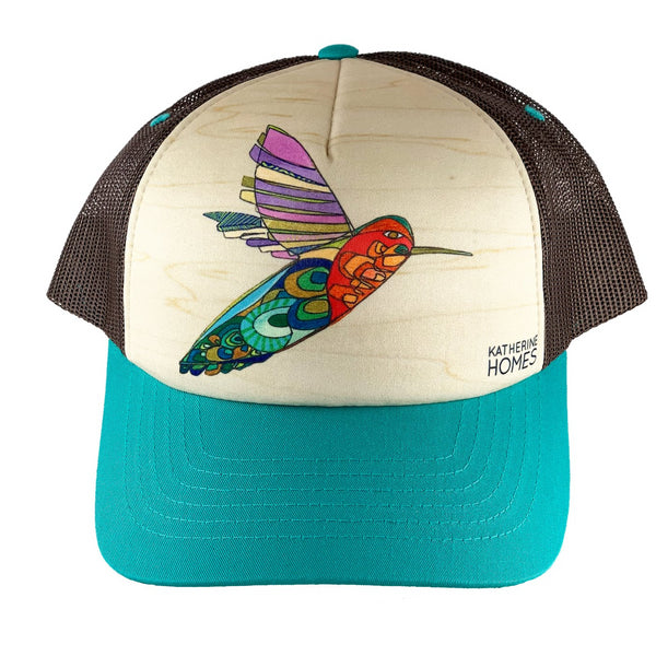 Hummingbird | Foam Sublimation Baseball Hat | Turquoise | Brown Mesh