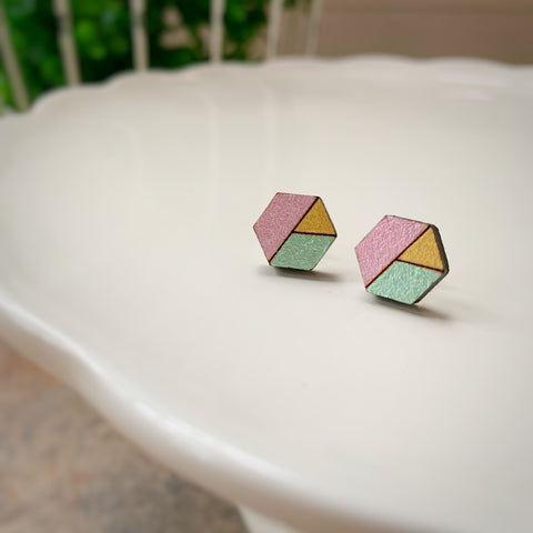 Tiny Hex Earrings: Pink, Mint & Gold