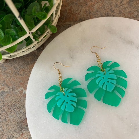 Double Monstera Leaf Earrings
