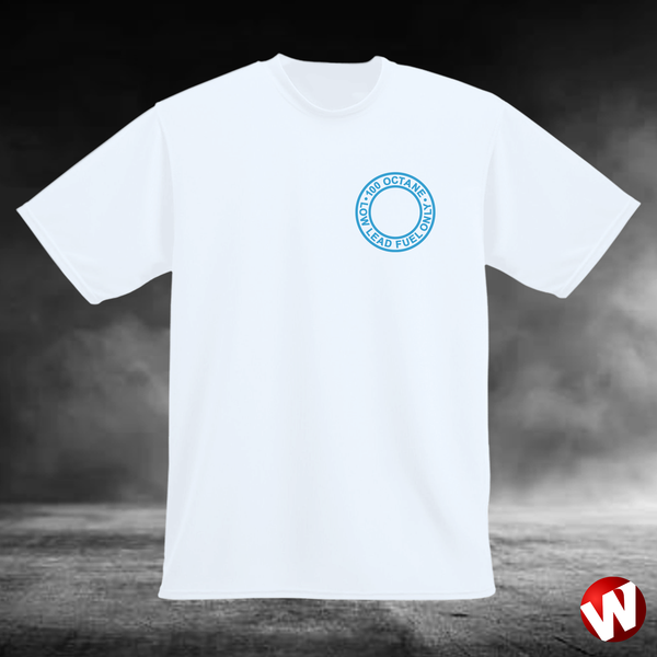 100 Octane Low Lead Fuel Only (small graphic, blue ink, white t-shirt). Windtee aviation t-shirts and custom graphics.