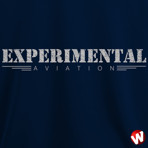 Experimental Aviation (gray ink, navy t-shirt). Windtee aviation t-shirts and custom graphics.