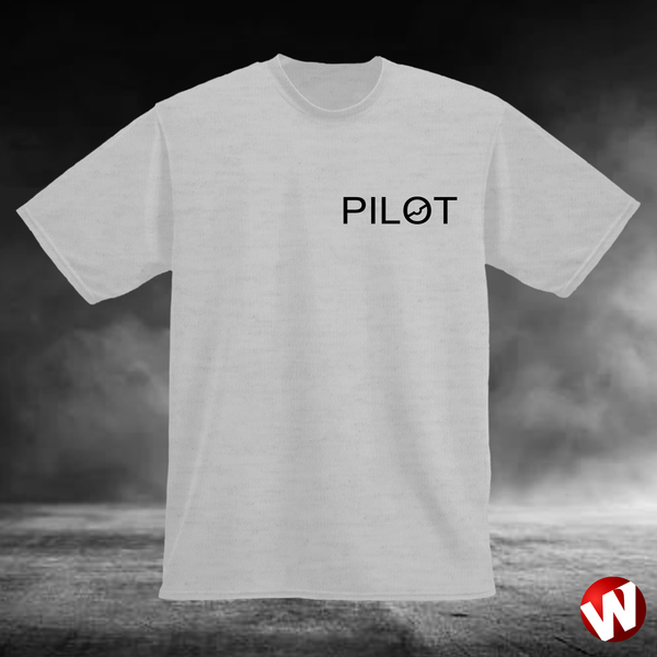 PILOT (small graphic, black ink, ash t-shirt). Windtee aviation t-shirts and custom graphics.