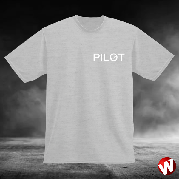 PILOT (small graphic, white ink, ash t-shirt). Windtee aviation t-shirts and custom graphics.