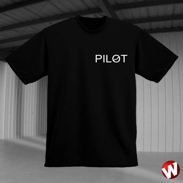 PILOT (small graphic, white ink, black t-shirt). Windtee aviation t-shirts and custom graphics.