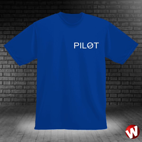 PILOT (small graphic, white ink, royal t-shirt). Windtee aviation t-shirts and custom graphics.