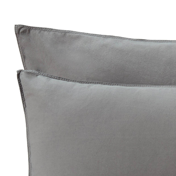 Luz duvet cover, charcoal, 100% cotton | URBANARA cotton bedding