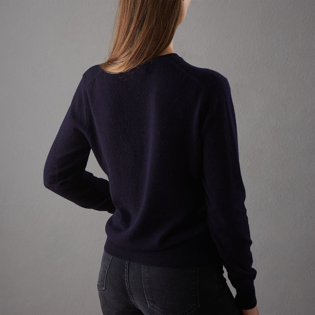 Nora jumper, midnight blue, 50% cashmere wool & 50% wool | URBANARA loungewear