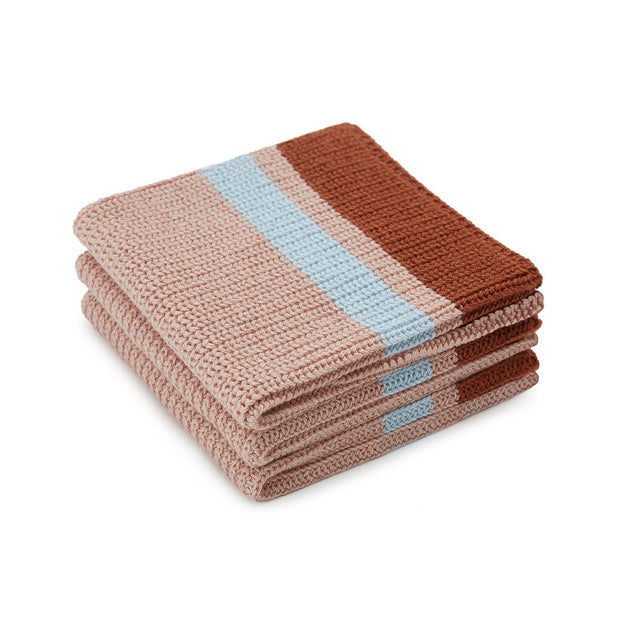 Estrela tea towel, light pink & cognac & ice blue, 100% cotton