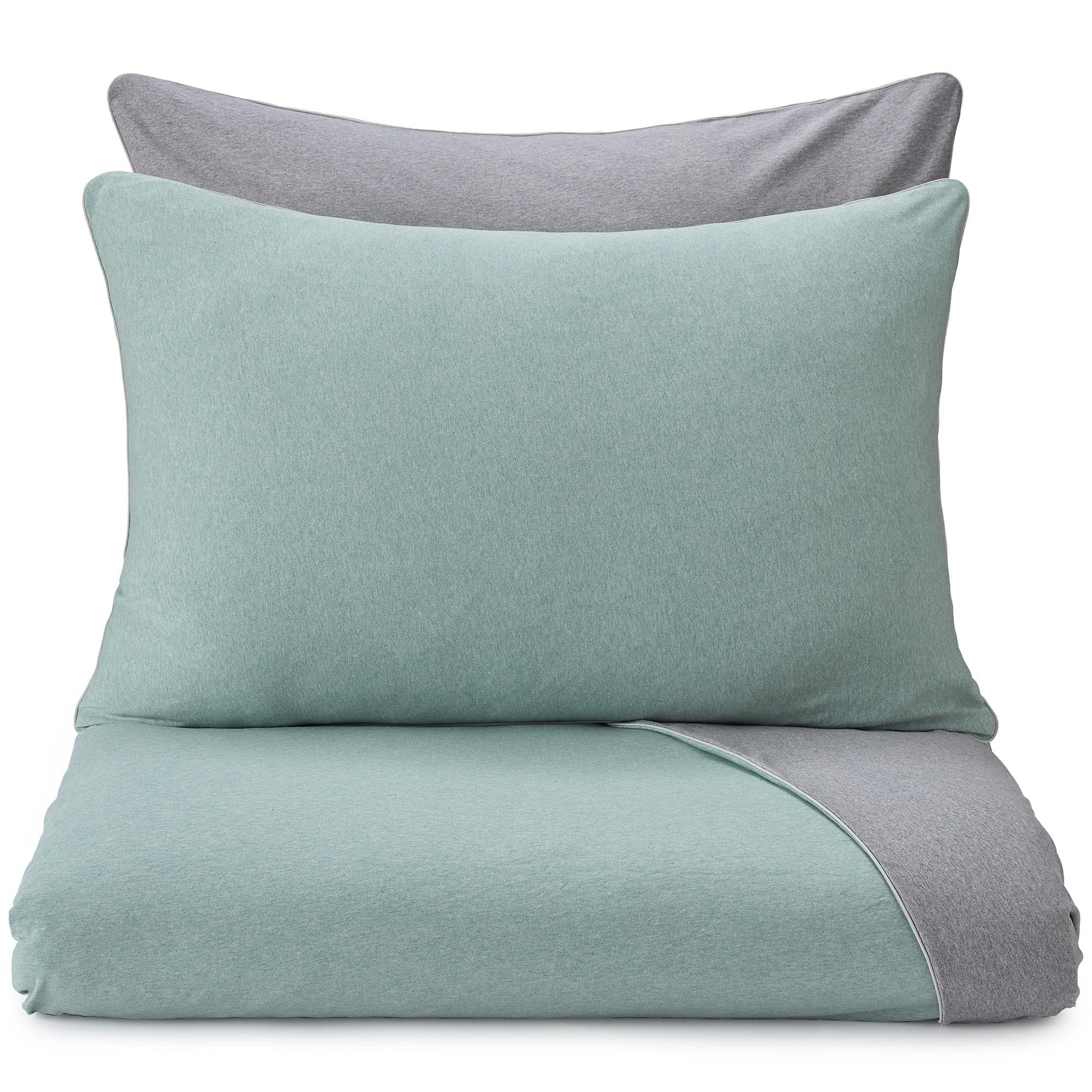 Coria duvet cover, light grey green melange & grey melange & grey, 100% cotton