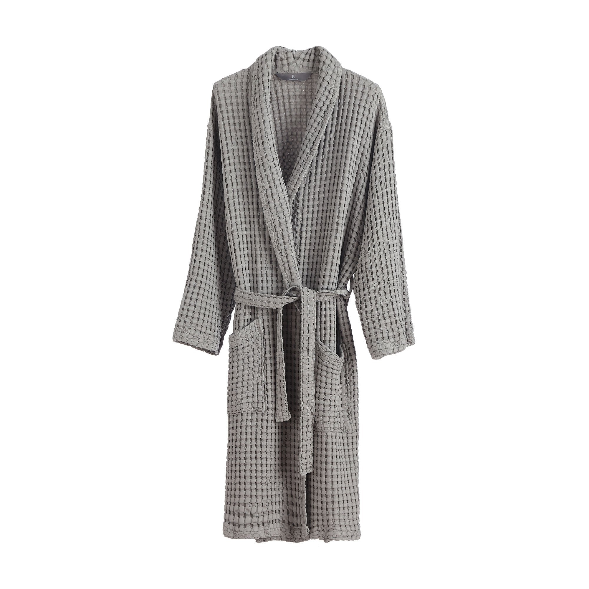 Veiros bathrobe, light grey, 100% cotton