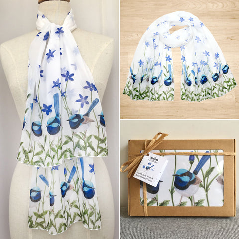 Superb Fairy Wren Scarf with Royal Blue Bells