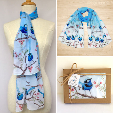 Splendid Blue Fairy Wren Scarf | Australian made scarf