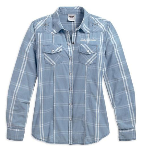 Women's Crewel Embroidered Plaid Woven Shirt, Blue 96088-17VW