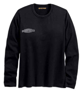 Women's Flocked Logo Long Sleeve Raw-Edge Tee, Black 96294-18VW
