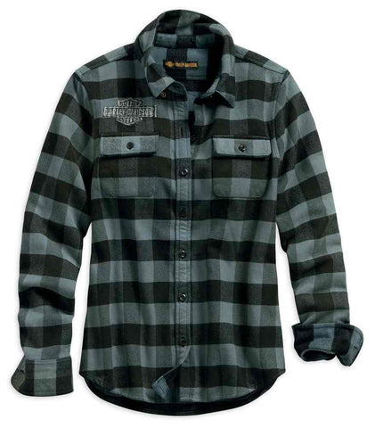 Harley-Davidson® Women's Winged Logo Patch Plaid Long Sleeve Shirt. 96361-19VW
