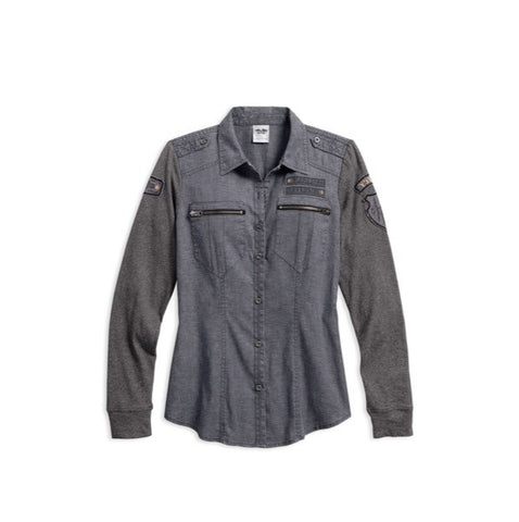 HARLEY-DAVIDSON WOMENS KNITE AND WOVEN LONG SLEEVE SHIRT 96027-17VW