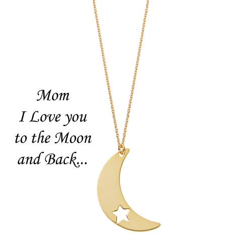 Mom I Love You to the Moon and Back <br> Necklace Gold Plated