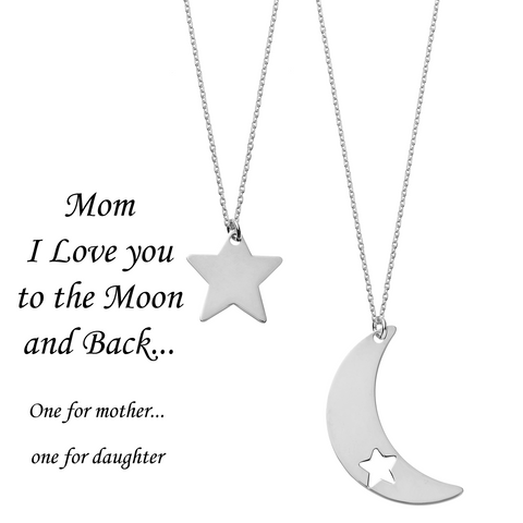 Mom I Love You to the Moon and Back <br> Necklaces Silver