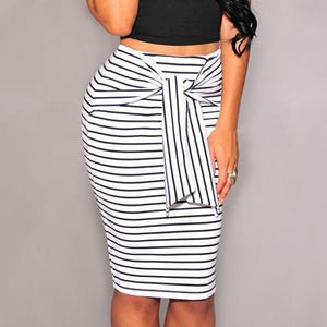 High Waist Striped Pencil Skirt - The Fashion Bliss By VL Enterprises