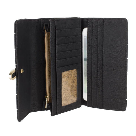 Retro Style Vegan Leather Clutch Wallet with Snap Closure, Black