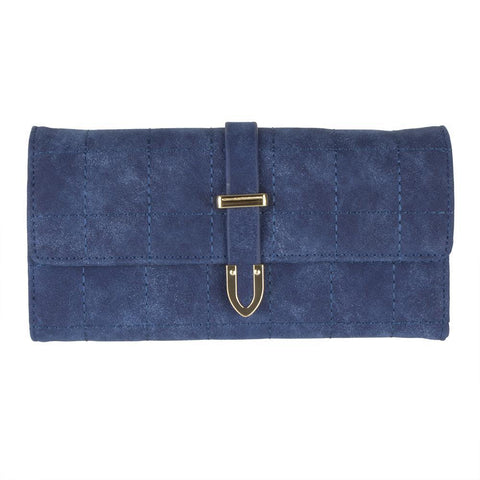 Retro Style Vegan Leather Clutch Wallet with Snap Closure, Blue