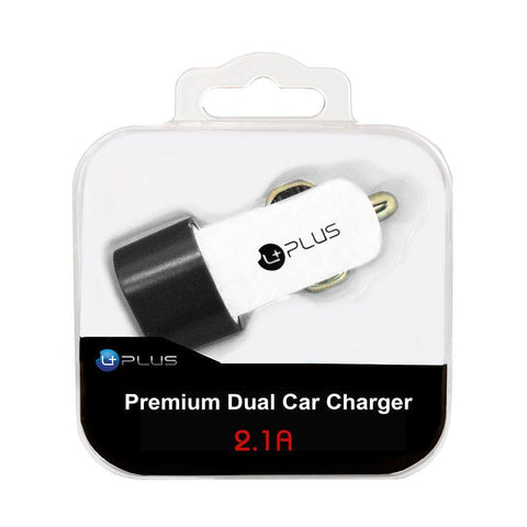 uPlus Premium 2.1A Dual Car Charger Adapter, White
