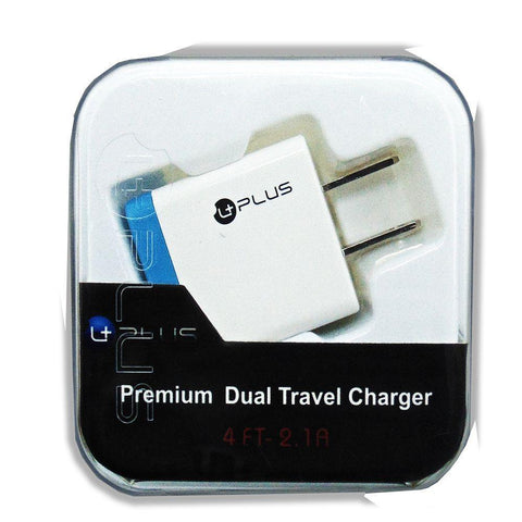 uPlus Premium 2.1A Dual Travel Charger Adapter, White