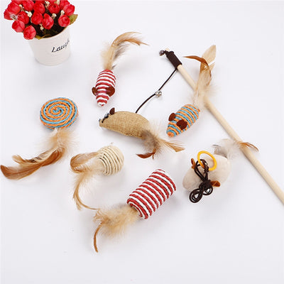Creative Cute Set Mouse Cat Catcher Toys with Feather Tails