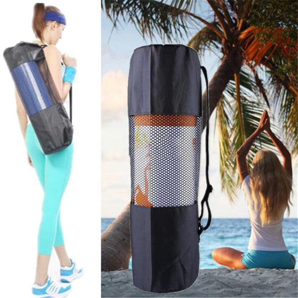 Black Outdoor Yoga Mat Roller storage Bag With Adjustable Strap Carry Pouch Yoga Practice Mats storage carrier Mesh Bags sale