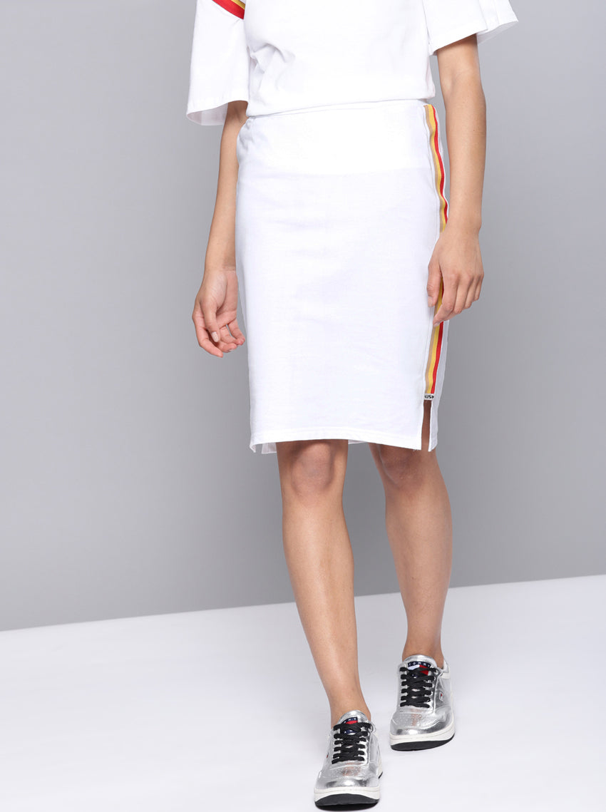 White Solid Pencil Skirt