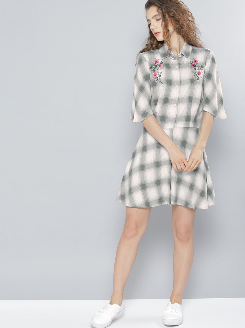 Grey & Pink Checked Shirt Dress
