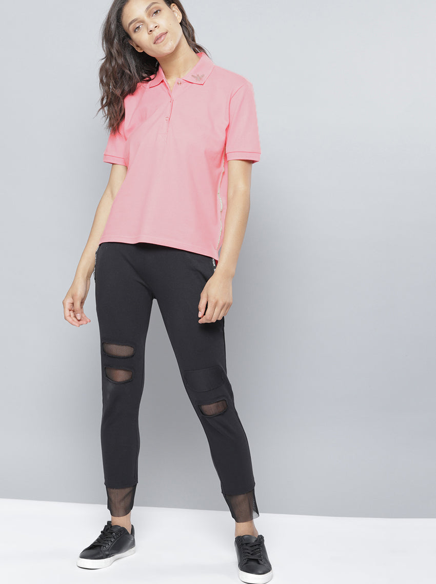 Pink Solid Polo Collar T-shirt