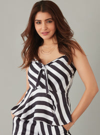 Black & White Striped Peplum Top