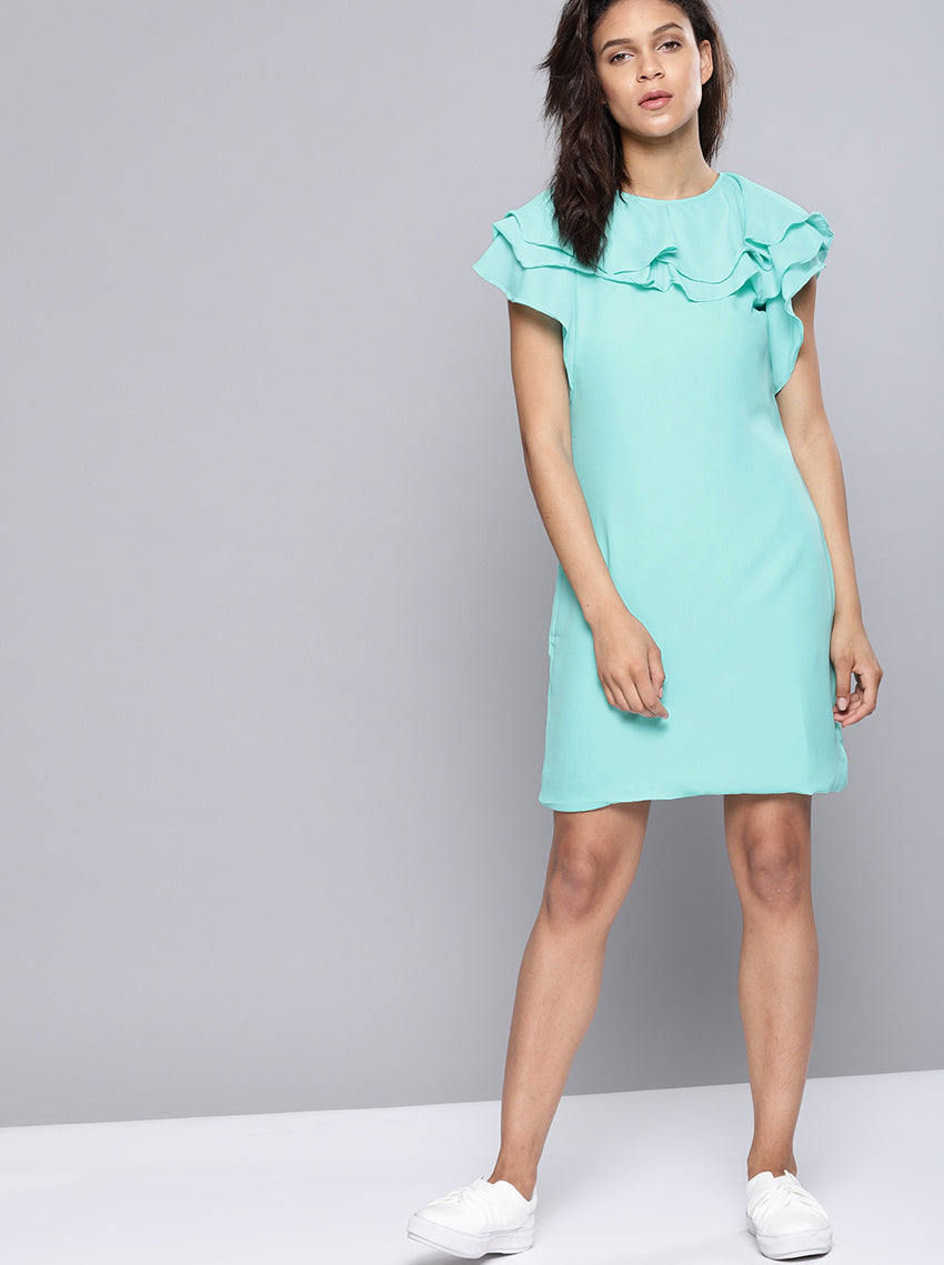 Blue Solid A-Line Dress Round Neck