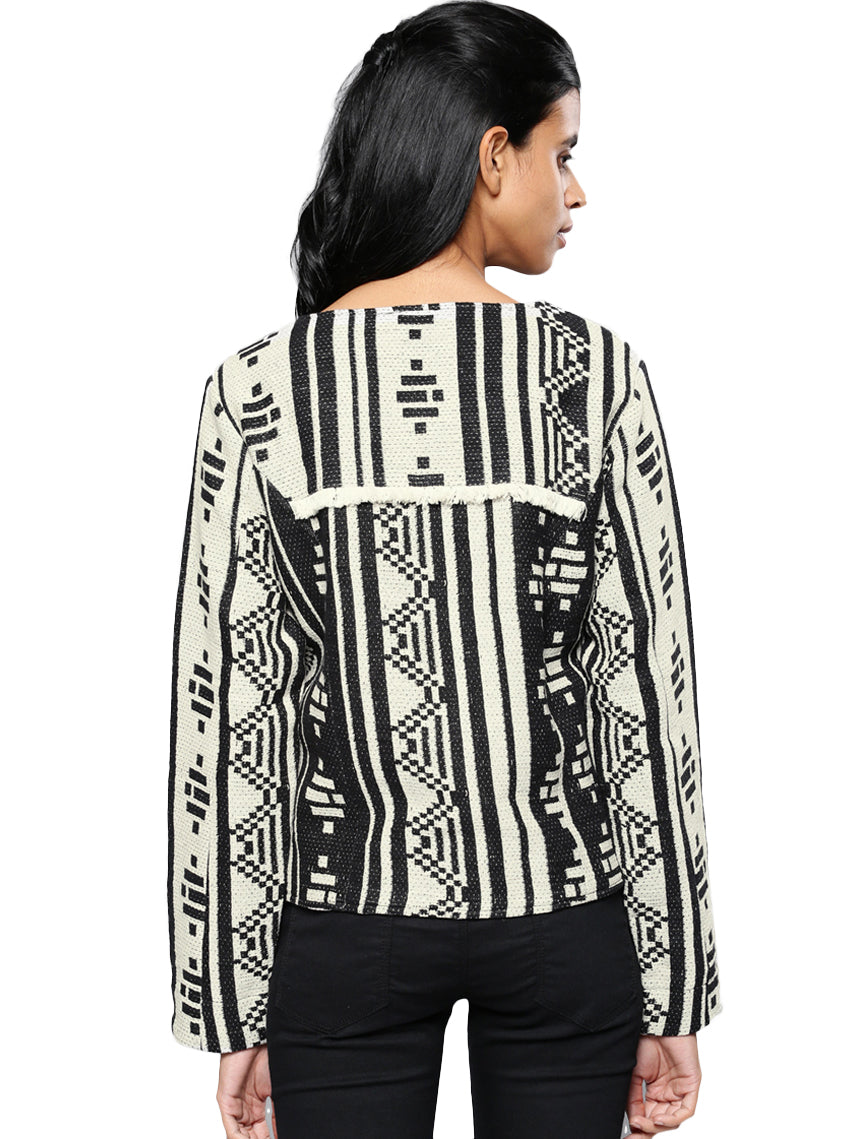 Black & Off-White Embroidered Shrug