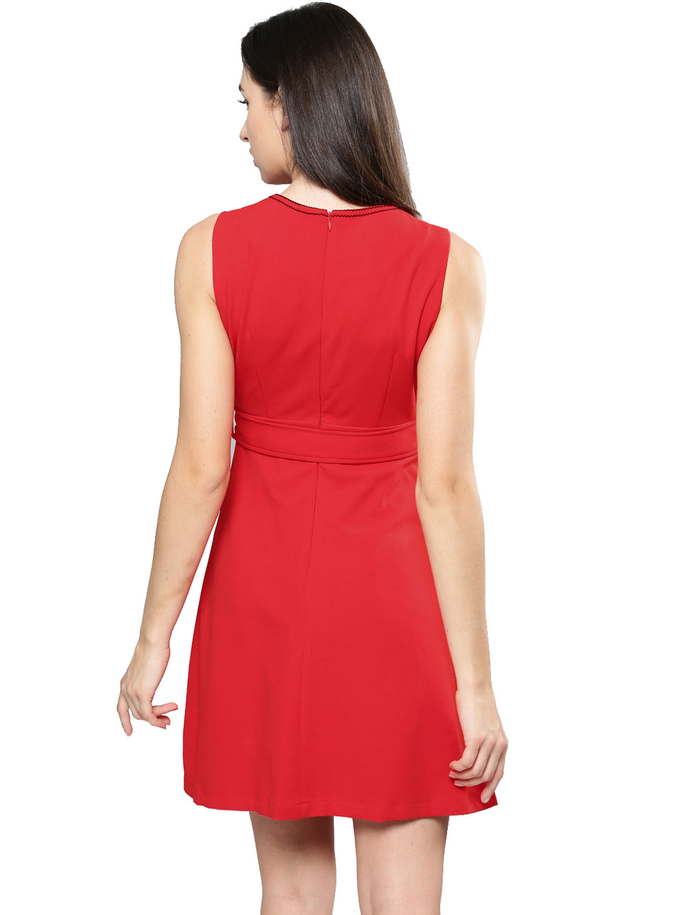 Red Solid A-Line Dress Sleeveless