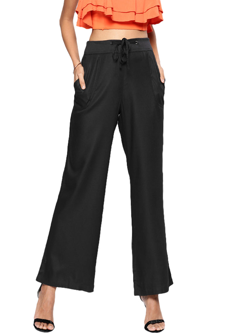 Black Relaxed Loose Fit Solid Bootcut Trousers