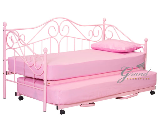 Joseph 3FT Pink Day Bed Metal frame with Pull up Trundle