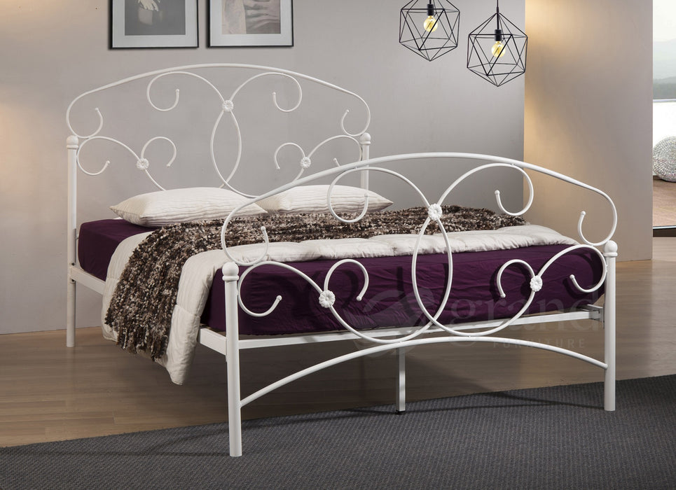 Atlas Curly White Metal Bed Frame