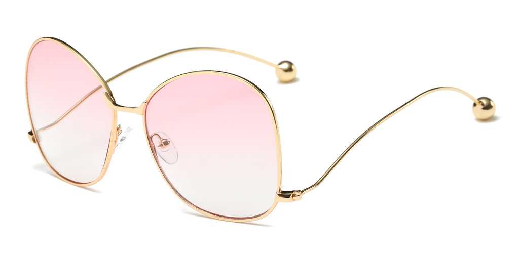 Women Metal Round Oversized Butterfly Shape Tinted Colored Lens Fashion Sunglasses