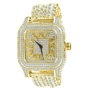 Gold Roman Numeral Square Dial Full CZ & Crystal Accented Watch & Band