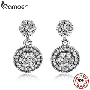 BAMOER 100% 925 Sterling Silver Radiant Elegance Round Geometric Stud Earrings for Women Sterling Silver Jewelry Gift SCE402