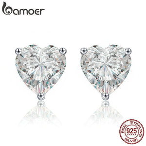 BAMOER Authentic 100% 925 Sterling Silver Luminous Clear CZ Heart Stud Earrings for Women Wedding Engagement Jewelry Gift SCE359