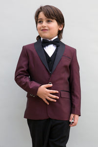 """Encore"" Kids Burgundy Tuxedo 5-Piece Set"