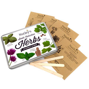 Nutley's Grow Your Own Herbs Kit Gift Tin seeds pots compost markers traditional Italian basil Coriander Chives Black Peppermint Italian Giant Parsley