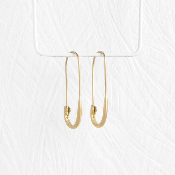 Safety Pin Earrings, 14K